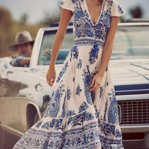 Floral summer boho vintage beach maxi gypsy dress